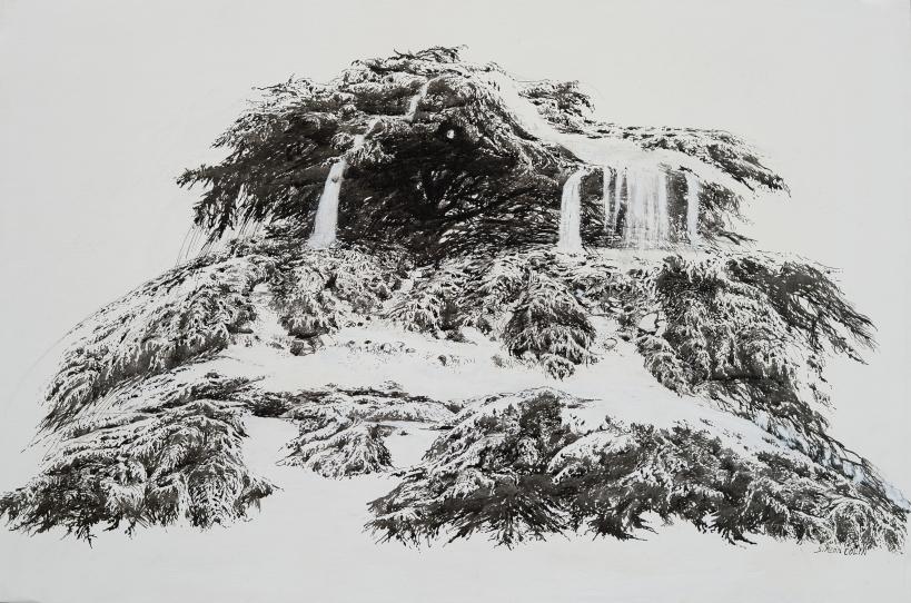 Cascade de lumière n°5, encre de Chine sur papier, 80 x 54 cm.