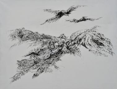 Grand vol n°3, encre de Chine sur toile vernie, 100 x 65 cm, 2016