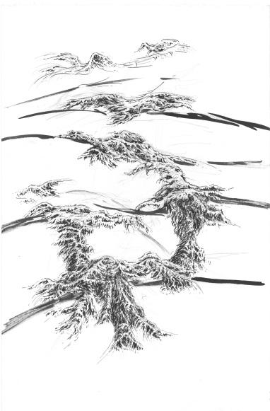 Evasion n°1, encre de Chine sur papier, 70 x 50 cm, 2016