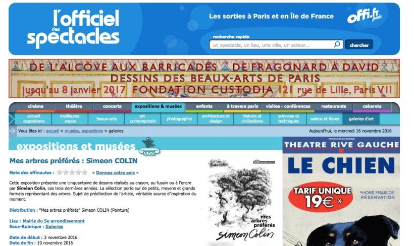 L'OFFICIEL DES SPECTACLES 02/11/2016 FRANCE